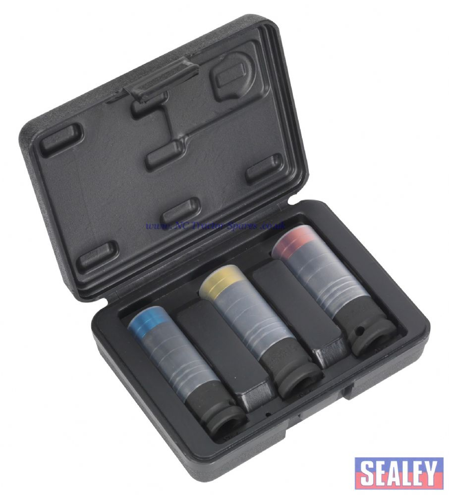 "Alloy Wheel Ultra-Power Impact Socket Set 3pc 1/2""Sq Drive"